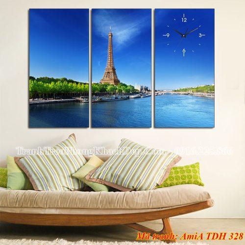Tranh AmiA 328 tháp Eiffel bên dòng sông Seine