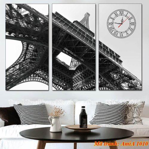 Tranh đen trắng đồng hồ tháp eiffel AmiA 1010