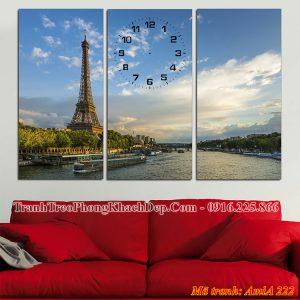 Tranh treo phòng khách AmiA 222 đồng hồ tháp epphen