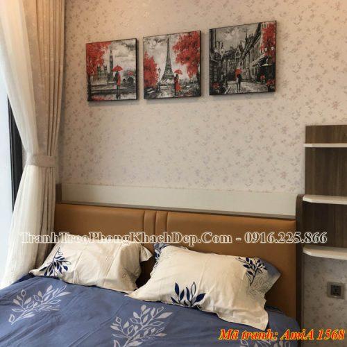 Tranh ghép 3 tấm treo phòng ngủ nghệ thuật AmiA 1568