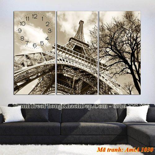 Tranh đồng hồ tháp Eiffel đen trắng Amia 1030