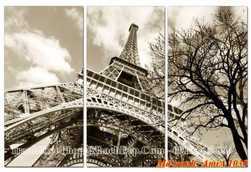 Tranh tháp Epphen đen trắng 3 tấm Amia 1030