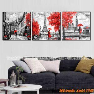 Tranh AmiA 1568 tháp Eiffel bộ 3 tấm nghệ thuật