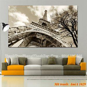 Tranh Amia 1029 tháp Eiffel đen trắng khổ lớn
