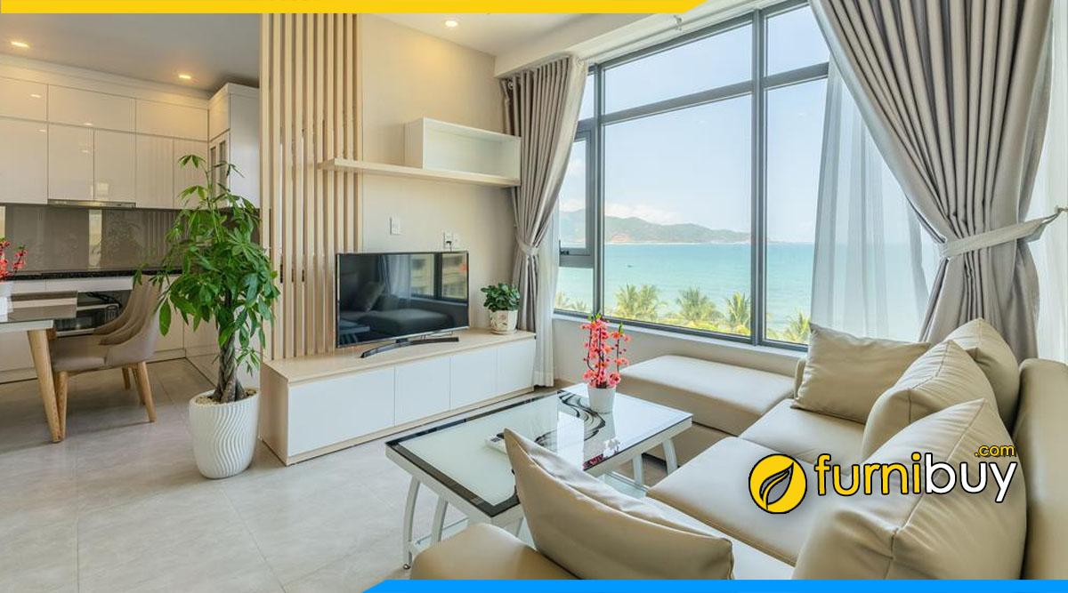 Mẫu kệ tivi chung cư nhỏ đẹp kết hợp cùng nội thất bàn trà, ghế sofa