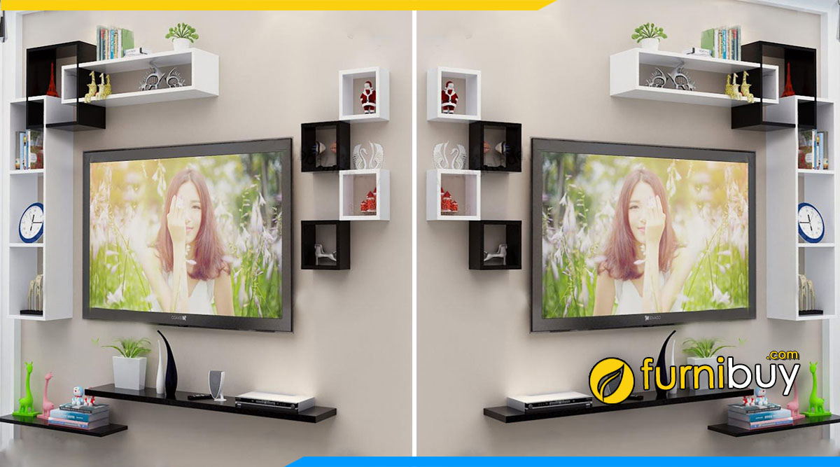 Kệ tivi phòng khách treo tường trang trí 4 món