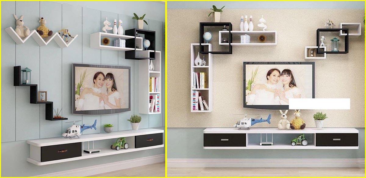 Kệ treo tường dưới tivi 2 ngăn kéo trắng đen