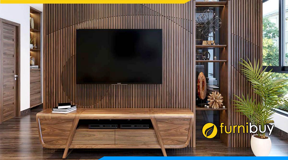 Hình ảnh Mẫu kệ tivi gỗ sồi Nga phòng khách chung cư nhỏ đẹp