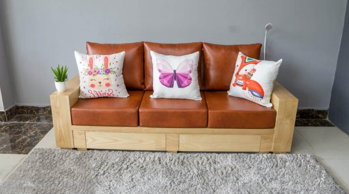 Ghế sofa văng gỗ tần bì 3 chỗ ngồi đệm da cực đẹp