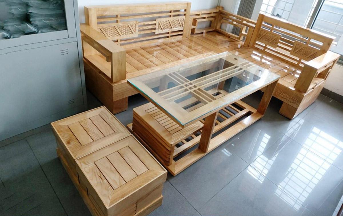 Mẫu sofa gỗ dạng góc trẻ trung gỗ Tần bì