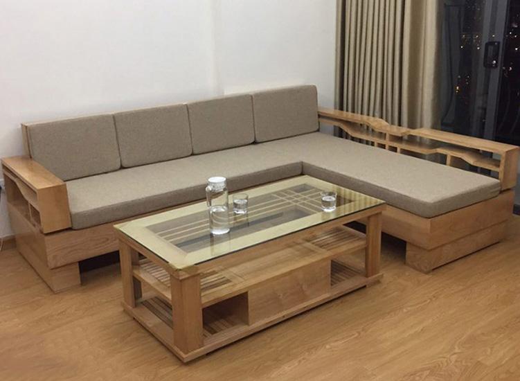 Ghế sofa gỗ tự nhiên cao cấp nệm nỉ kê phòng khách