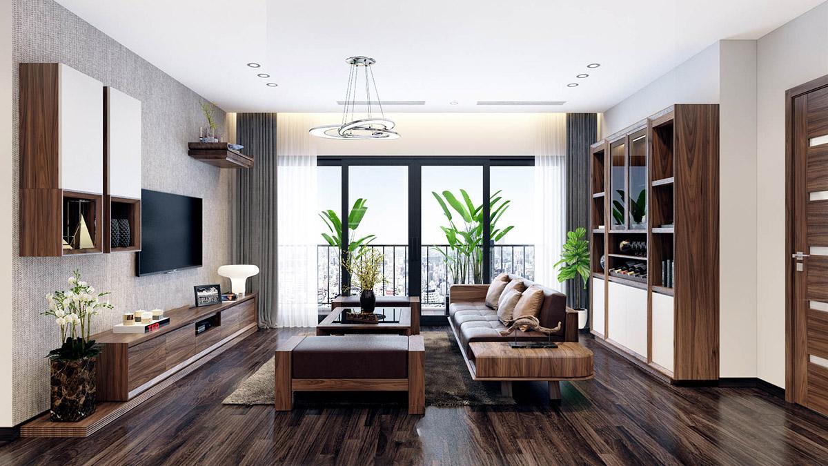 Sofa gỗ phòng khách chung cư rộng, sang trọng